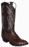 CowTown Caiman Crocodile Boot - Tail Cut Height - Dark Chocolate Brown