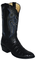 Caiman Crocodile Boots in a Back Cut - Black