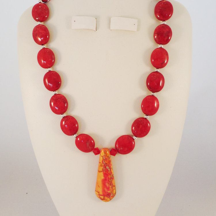 Red Howlite with an Magnasite Pendant