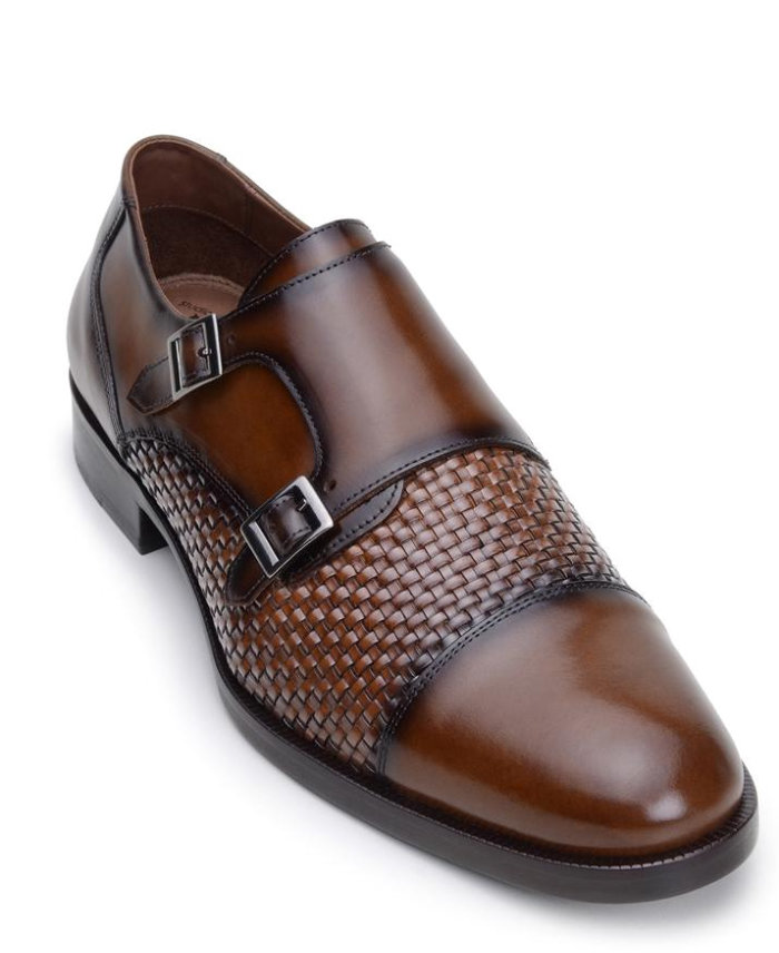 Belvedere Emerson Copper Soft Woven Nappa Double Monk Strap Leather Shoes