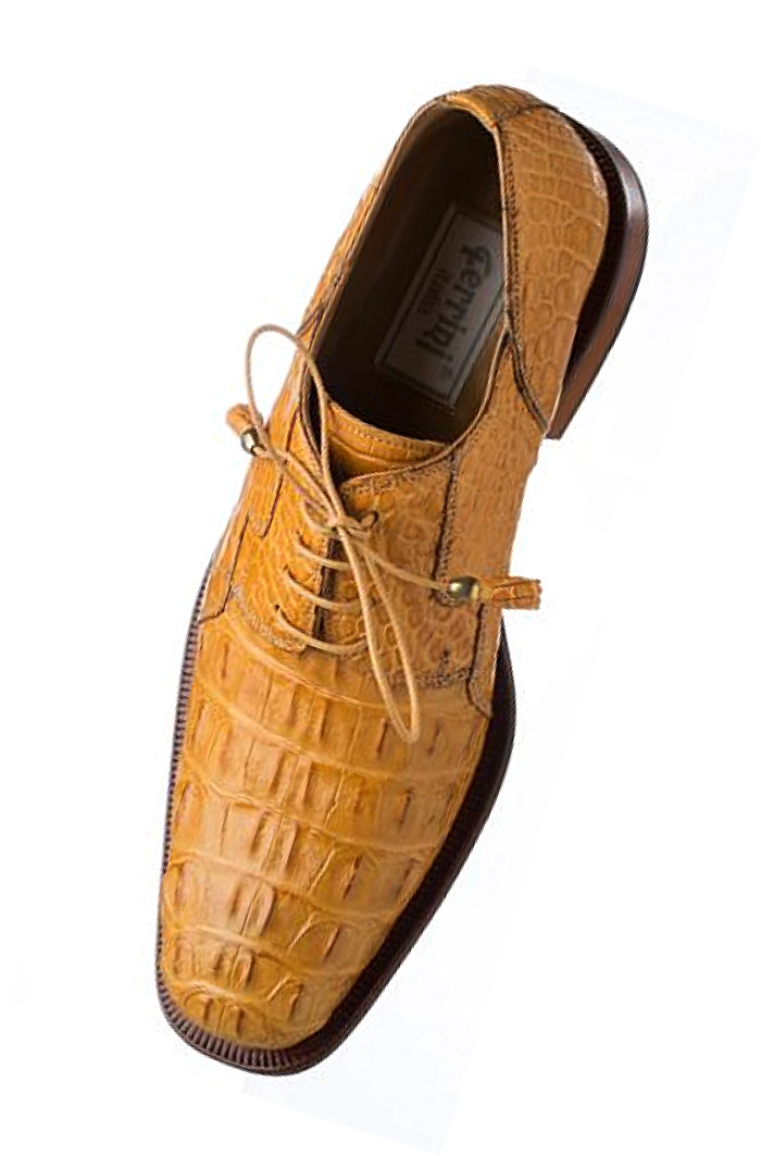 Ferrini F226 Genuine Hornback Alligator Lace-up Dress Shoe in Camel