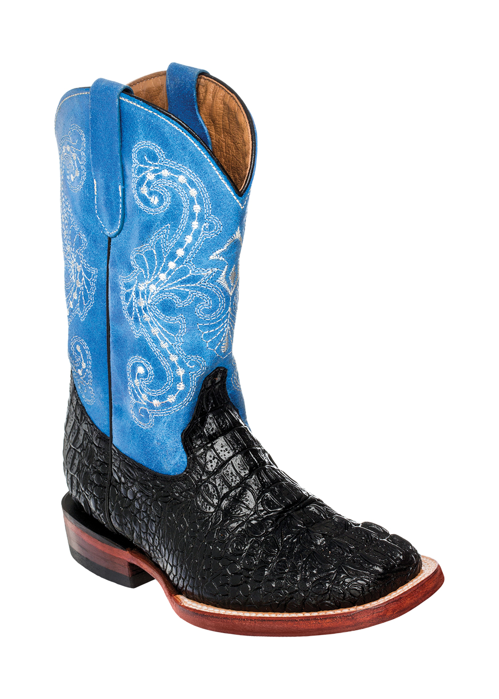Ferrini Kid's Print Crocodile Cowboy Boot in Black/Blue