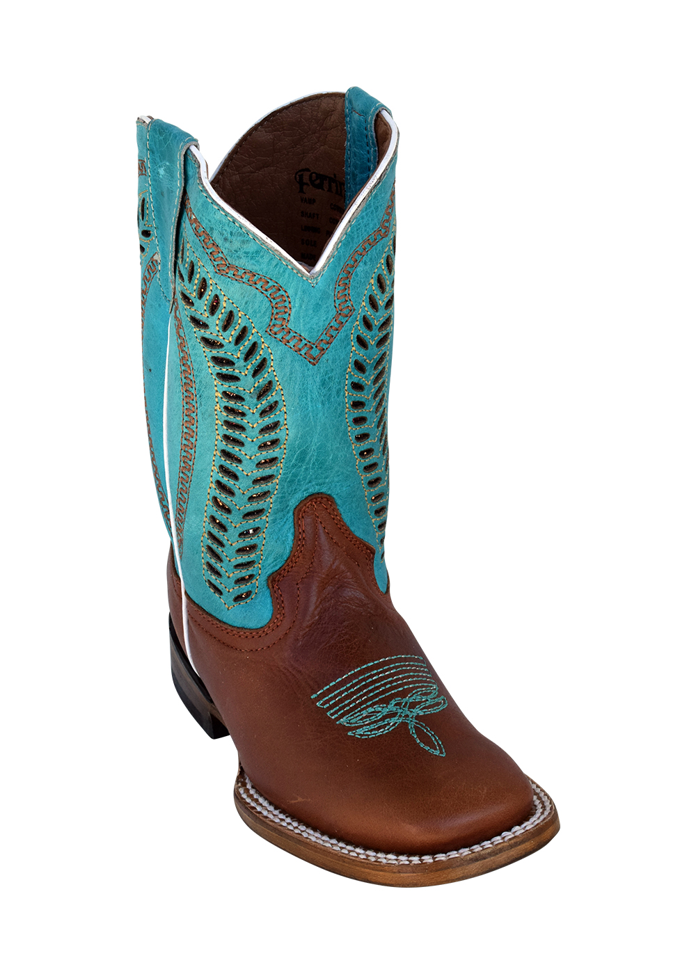 Ferrini Kid's Cowhide Cowboy Boot in Brown/Turquoise