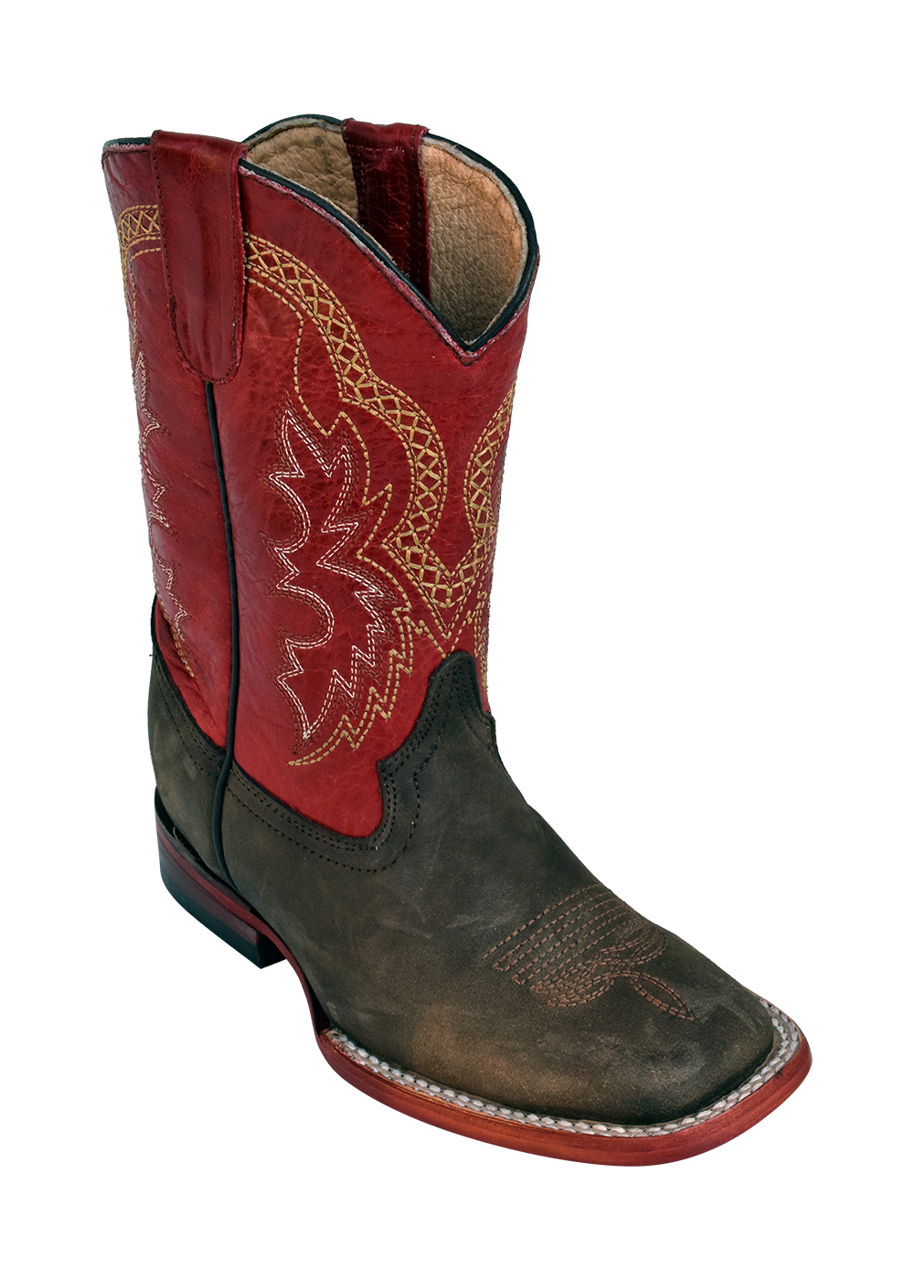 Ferrini Kid's Cowboy Boot Dallas Chocolate/Red
