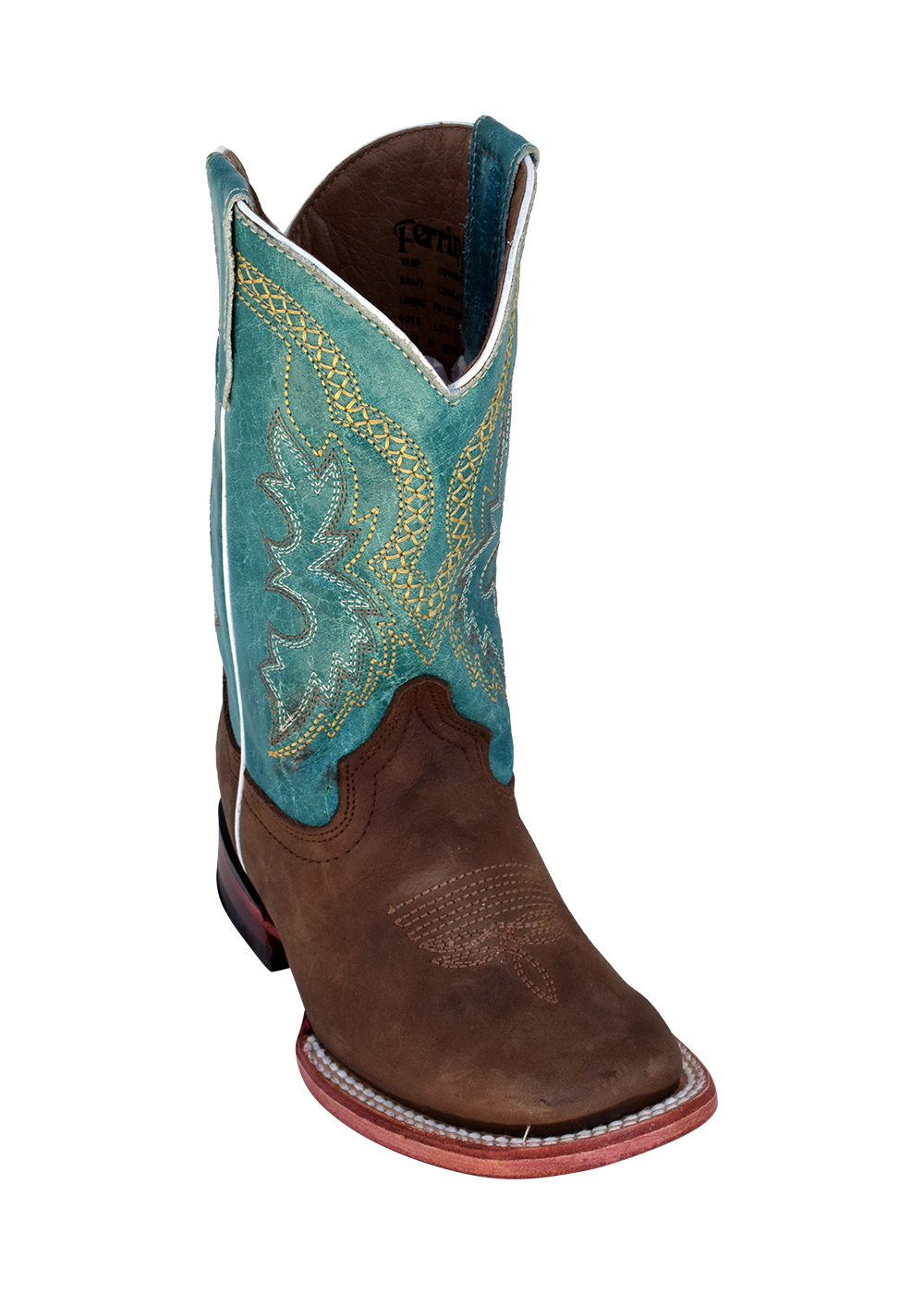 Ferrini Kid's Cowboy Boot in Dallas Chocolate/Turquoise