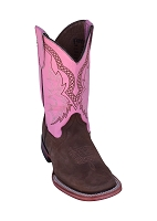 Ferrini Kid's Princess Cowboy Boot in  Chocolate/Pink