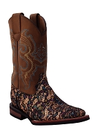 Ferrini Kid's Cowboy Boot in Sparkle Gold
