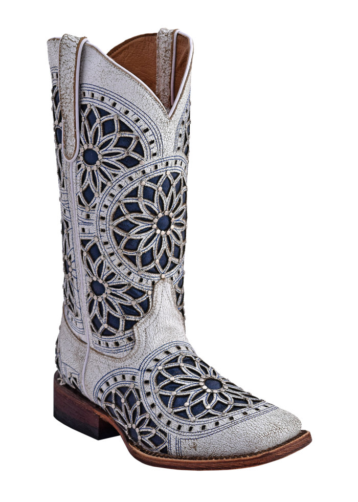 Ferrini Ladies Mandala Wedding Boot White S-Toe
