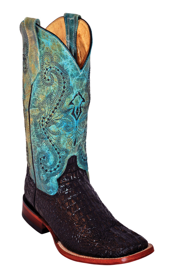 Ferrini Ladies Stampede Black/Teal S-Toe