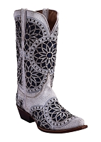Ferrini Ladies Mandala Wedding Boot White V-Toe