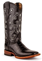 Ferrini Ladies Mustang Belly Alligator Print in Black with an S-Toe