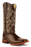 Ferrini Ladies Mustang Belly Alligator Print in Chocolate with an S-Toe