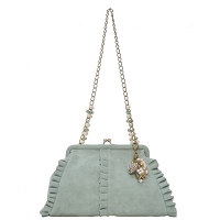 Liz Soto 3279 Ruffled Handbag with a Chain Handle and Key chain 3-Colors