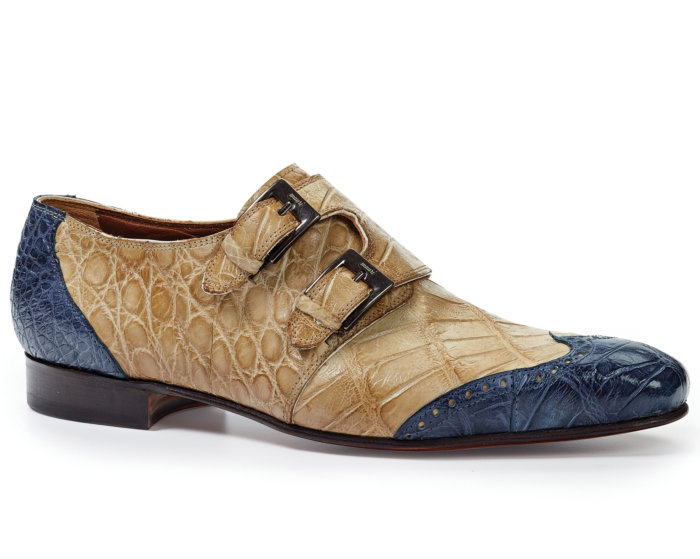 Mauri Body Alligator Hand Painted 1010 Burnished Caribbean Blue/Bone