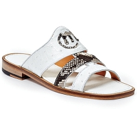 Mauri 1255/1 Poccianti Sandal in Ostrich White and Python
