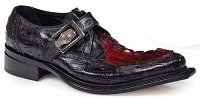 Mauri Michaelangelo Baby Croc hand painted Black and Hornback Tail painted Burgundy 44225