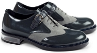 Mauri Tacito Wingtip Baby Croco Suede & Calfskin in Grey and Charcoal Grey 4781