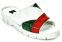 Mauri 5018 Cagnola Sandal in Baby Crocodile  with Rubber Sole in White Italian Flag