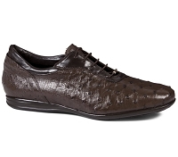 Mauri Full Quill Ostrich Hand Painted 9295 Nicotina + Calf Testa Moro Laceup