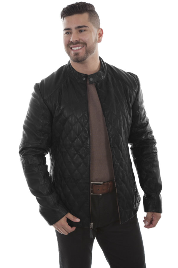 Scully Quilted Leather Jacket in Black or Chocolate