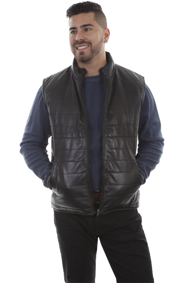 Scully Reversible Ribbed Leather Vest in Black Lamb