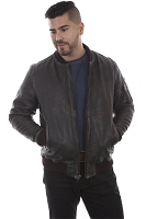 Scully Vintage Weathered Leather Looking Jacket in Brown