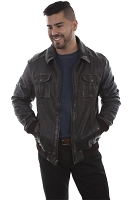 Scully Rugged Zip Front Leather Jacket in Brown