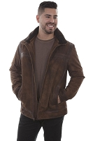Scully Suede and Leather Trim Jacket in Old Brown