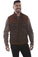 Scully Suede Two Tone Vest in Brown Lamb Suede
