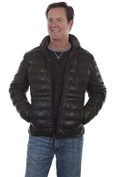 Scully Reversible Ribbed Hooded Leather Jacket in Black