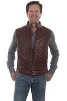Scully Leather Quilted Leather Vest in Antique Brown