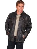 Scully Leather Lamb Jacket 5-Snap Front Close in Black