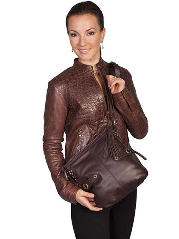 Scully Western Leather Handbag in Brown