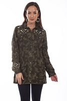 Scully Camouflage Suede and Embroidered Beaded Jacket