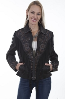 Scully Leather Embroidered Fringe Suede Jacket
