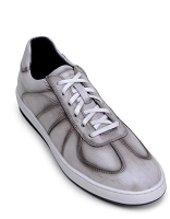 Belvedere Edson Italian Sift Calf Lace-up Sneaker in Antique White
