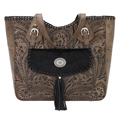 Annie's Secret Zip Top Tote - Distressed Charcoal Brown