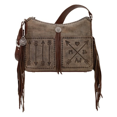 Cross My Heart Collection<br>Shoulder Bag<br>Distressed Charcoal Brown