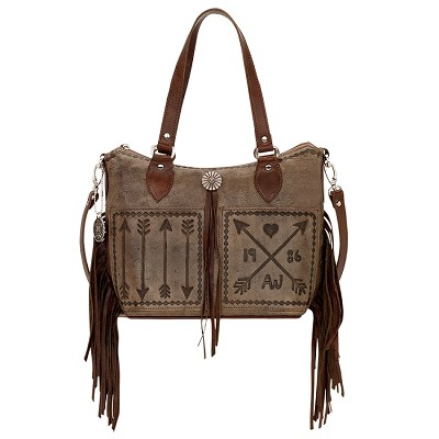 Cross My Heart Collection<br>Convertible Bucket Tote<br>Distressed Charcoal Brown