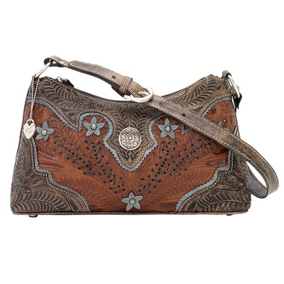 Desert Wildflower Collection Zip Top Shoulder Bag - Antique Brown/ Distressed Charcoal Brown/ Sky Blue