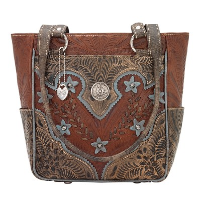 Desert Wildflower Collection Zip Top Tote  - Antique Brown/ Distressed Charcoal Brown/ Sky Blue