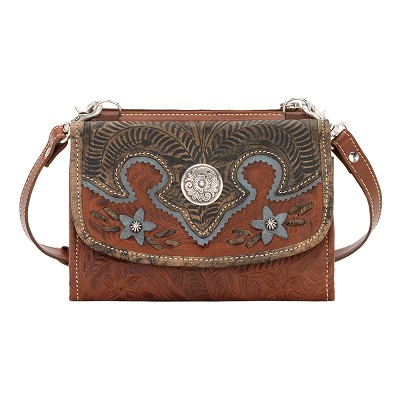 Desert Wildflower Collection Crossbody Bag/Wallet - Antique Brown