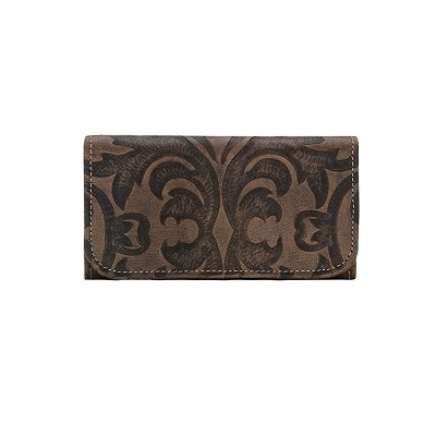 Baroque Collection Tri-Fold Wallet - 6083282 Distressed Charcoal Brown