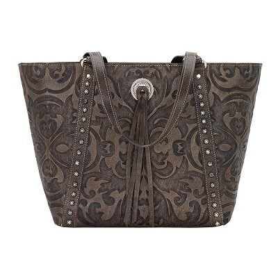 Baroque Collection Tote - Distressed Charcoal Brown