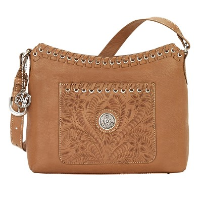 Harvest Moon Collection Zip-Top Shoulder Bag - Golden Tan