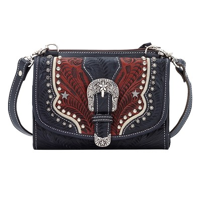 Texas Two-Step Small Crossbody Bag/Wallet Blue/Distressed Crimson