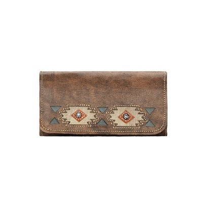 Native Sun Collection Tri-Fold Wallet - 908382 Distressed Charcoal Brown