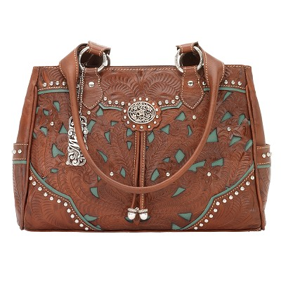 Lady Lace Collection Multi-Compartment Organizer Tote - Antique Brown/Turquoise