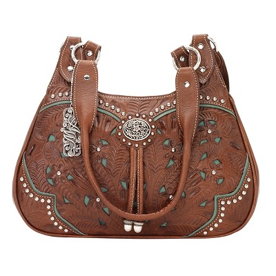 Lady Lace Collection 3 Compartment Zip-Top Scoop Tote - Antique Brown/Turquoise