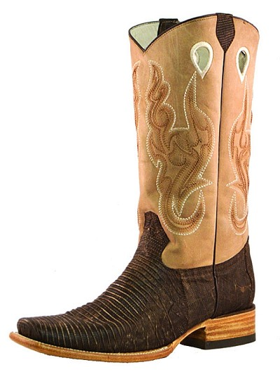 "BT-117 Distressed Lizard Square Toe 13"" Roper Heel - Brown"